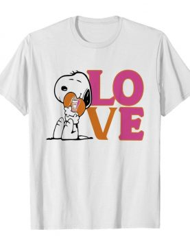 Snoopy hug heart love dunkin donuts shirt