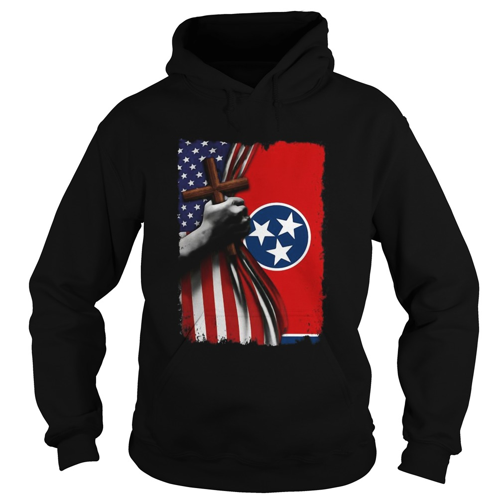 Tennessee american flag cross happy independence day  Hoodie