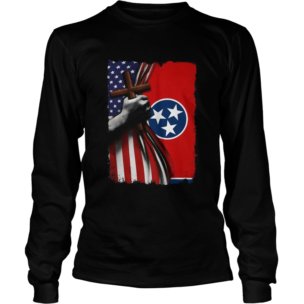 Tennessee american flag cross happy independence day  Long Sleeve