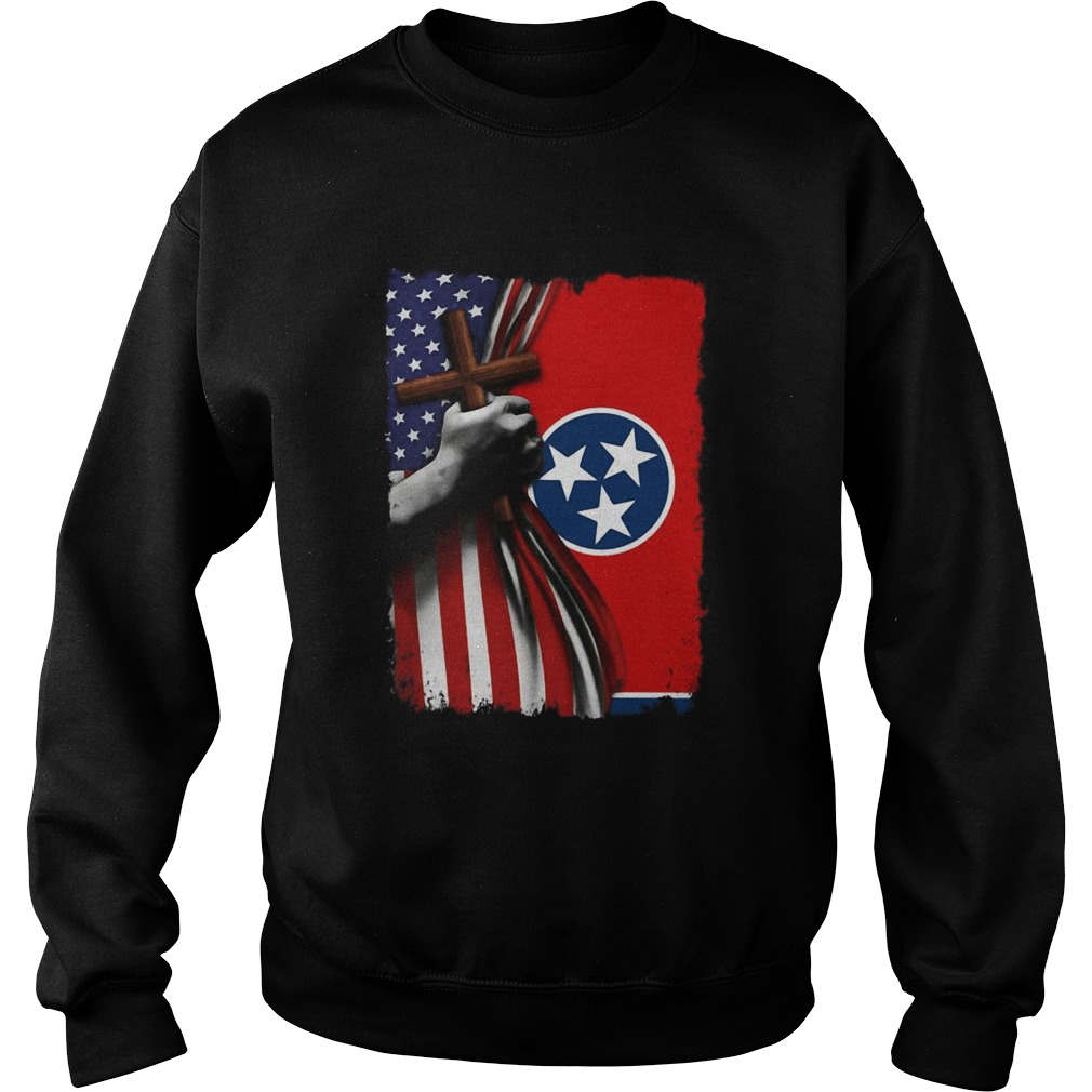 Tennessee american flag cross happy independence day  Sweatshirt