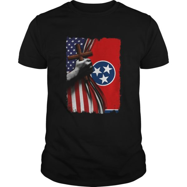Tennessee american flag cross happy independence day shirt