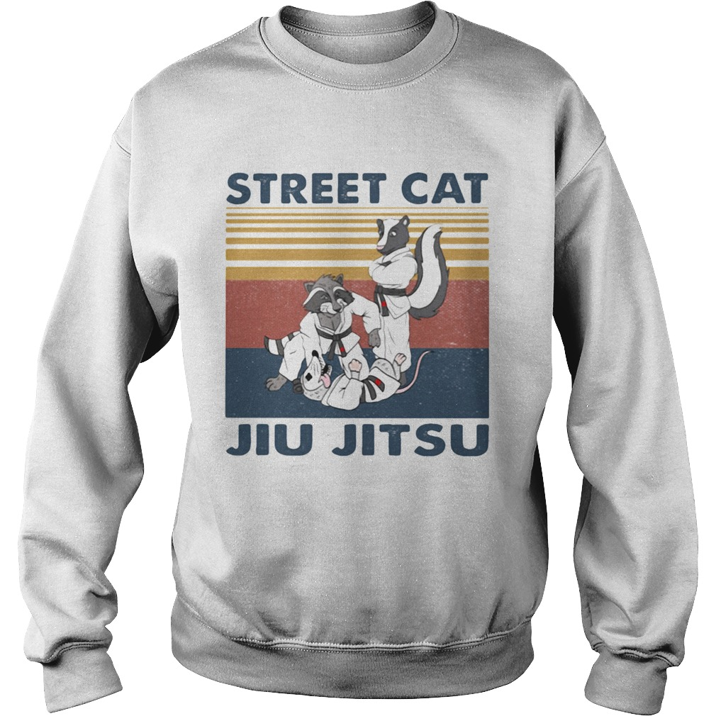 Raccoon Street cat jiu jitsu vintage retro  Sweatshirt