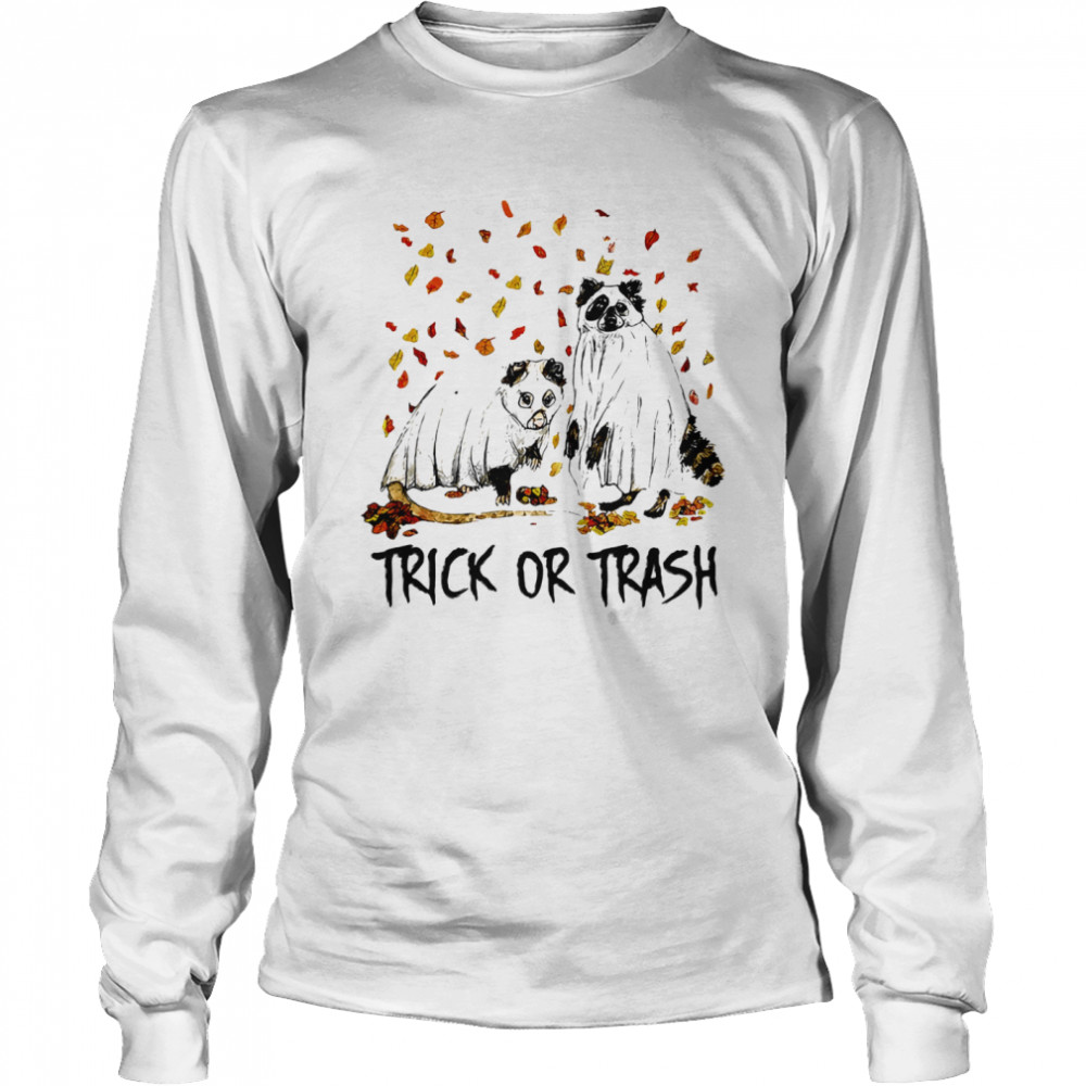 Halloween cat ghost trick or trash  Long Sleeved T-shirt