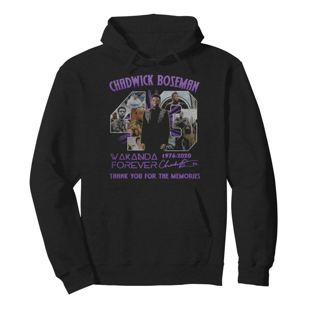 Rip chadwick 43 wakanda forever 1976 2020 thank you for the memories signatures  Unisex Hoodie