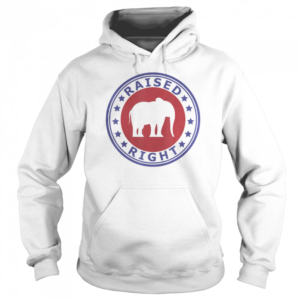 Raised Right Vote Trump Republican Elephant Politics  Unisex Hoodie