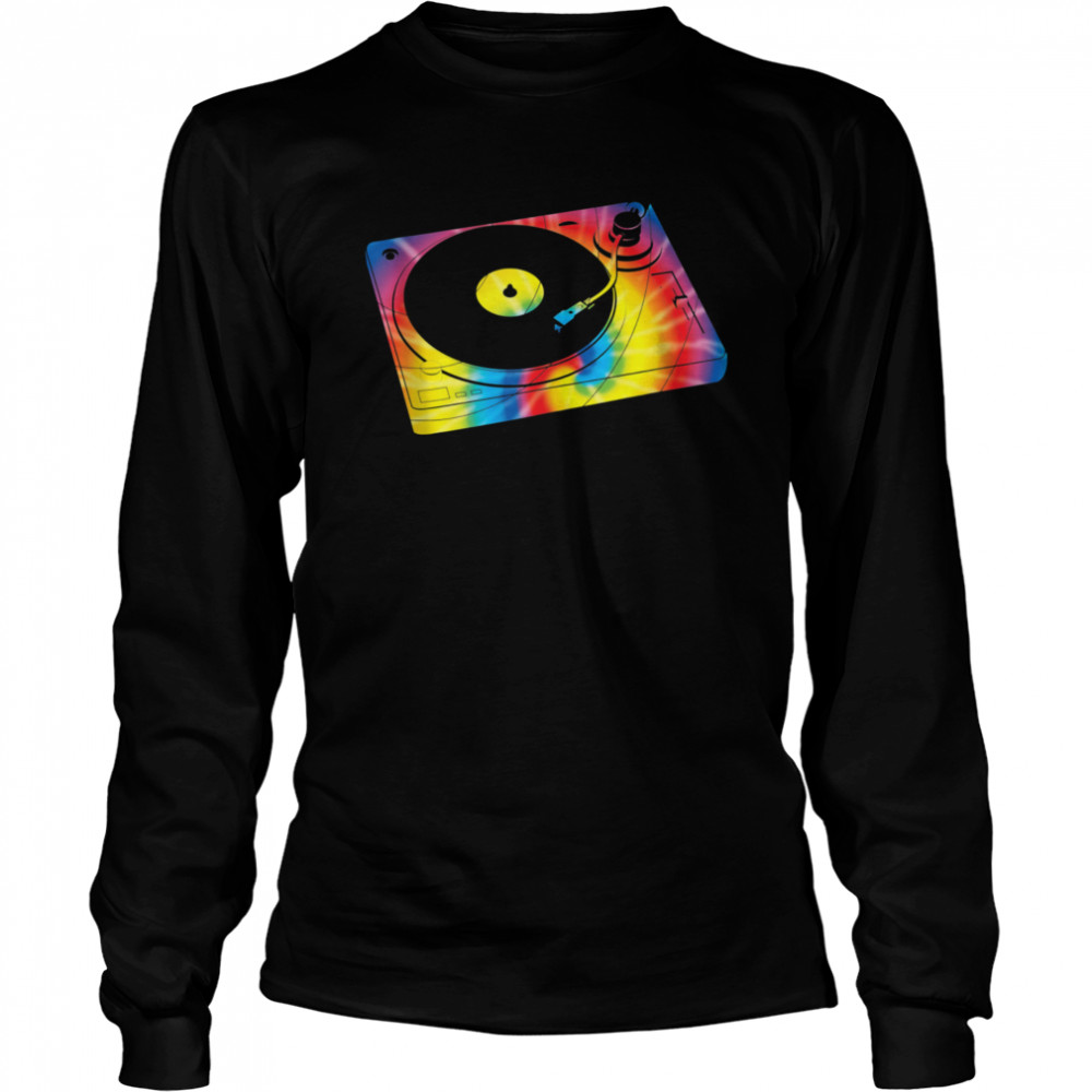 Retro Record Player Turntable Tie Dye Music  Long Sleeved T-shirt