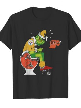 Grinch Pittsburgh Steelers Shit On Toilet Cleveland Browns And Other Teams Christmas shirt