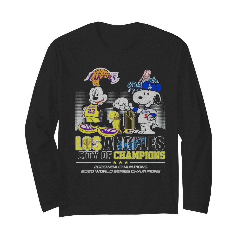 Mickey Mouse Los Angeles Lakers And Snoopy Los Angeles Dodgers City Of Champions 2020 Nba Champions  Long Sleeved T-shirt