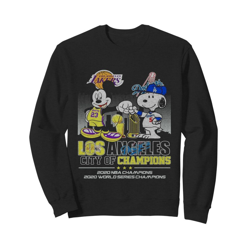 Mickey Mouse Los Angeles Lakers And Snoopy Los Angeles Dodgers City Of Champions 2020 Nba Champions  Unisex Sweatshirt