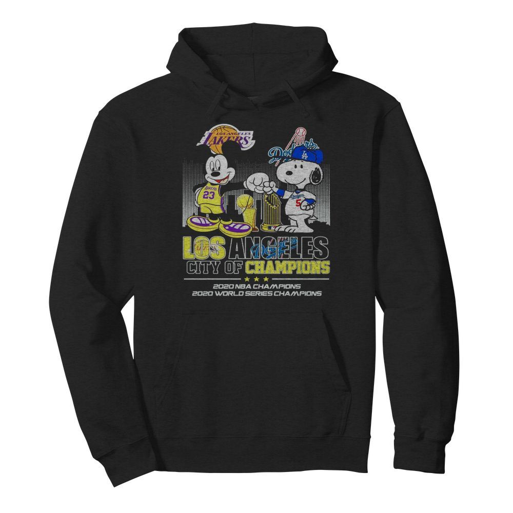 Mickey Mouse Los Angeles Lakers And Snoopy Los Angeles Dodgers City Of Champions 2020 Nba Champions  Unisex Hoodie