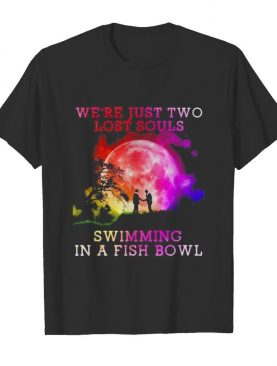 Pink floyd band we're just two lost souls swimming in a fish bowl moon shirt