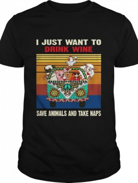 Just Want To Drink Wine Save Animal And Take Naps Peace Bus Vintage Retro shirt
