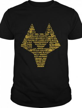 Wolverhampton England Gift Wolves Black Gold Word Cloud shirt