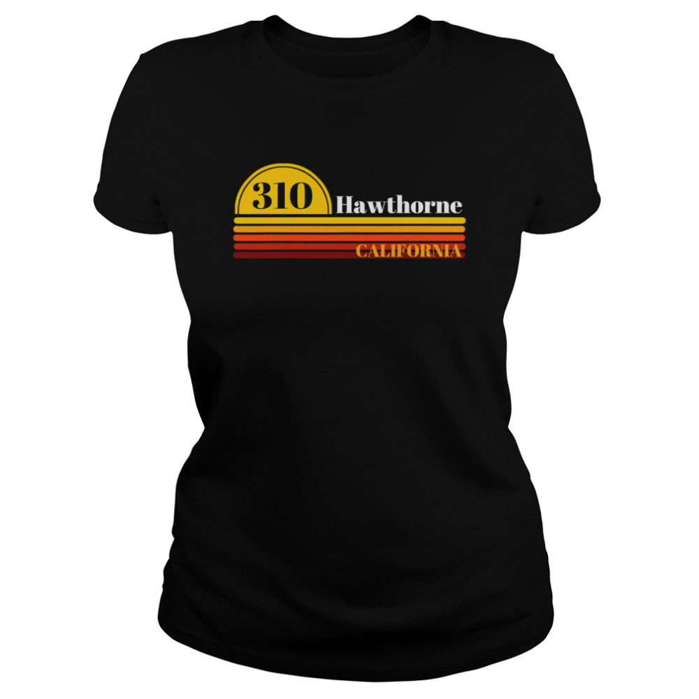 310 Hawthorne California Vintage Sunset With Area Code  Classic Women's T-shirt