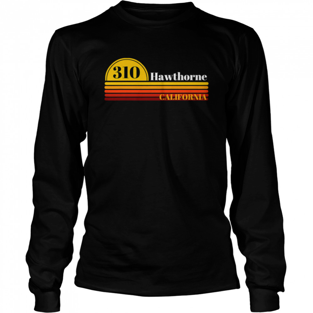 310 Hawthorne California Vintage Sunset With Area Code  Long Sleeved T-shirt