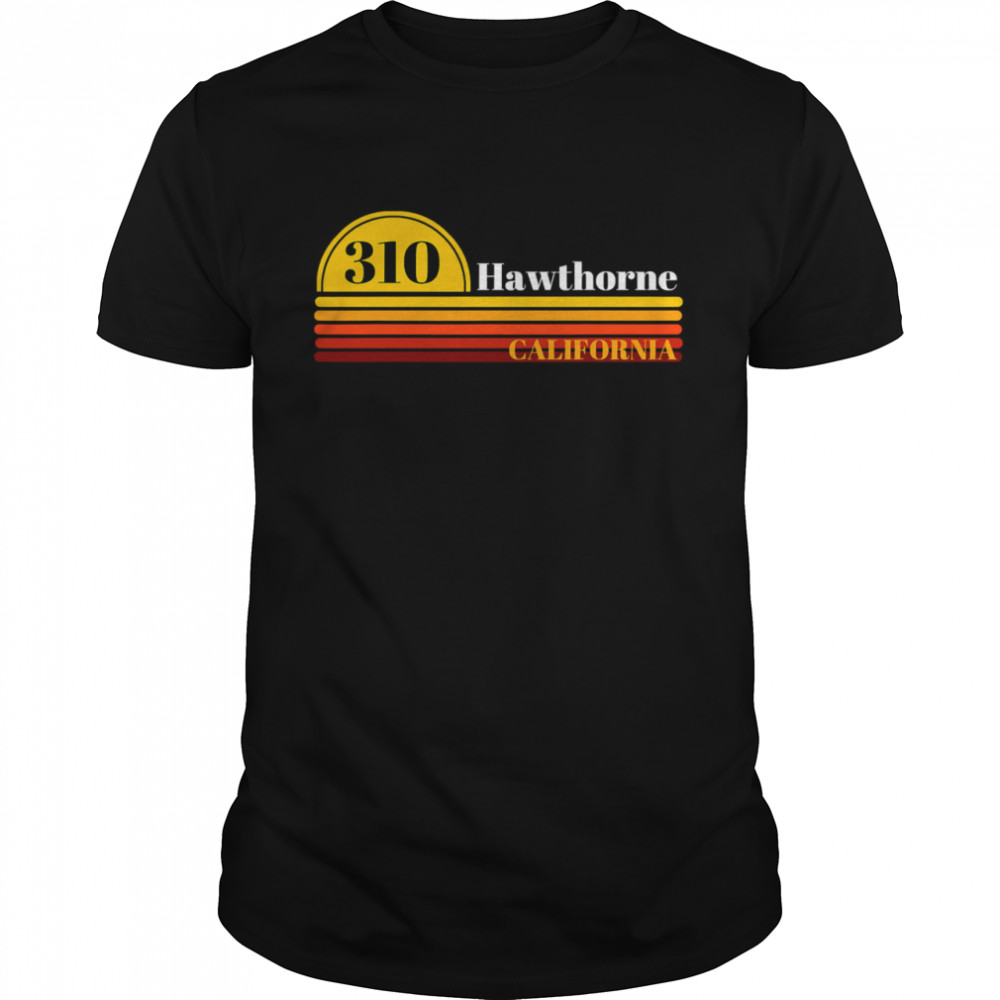 310 Hawthorne California Vintage Sunset With Area Code  Classic Men's T-shirt
