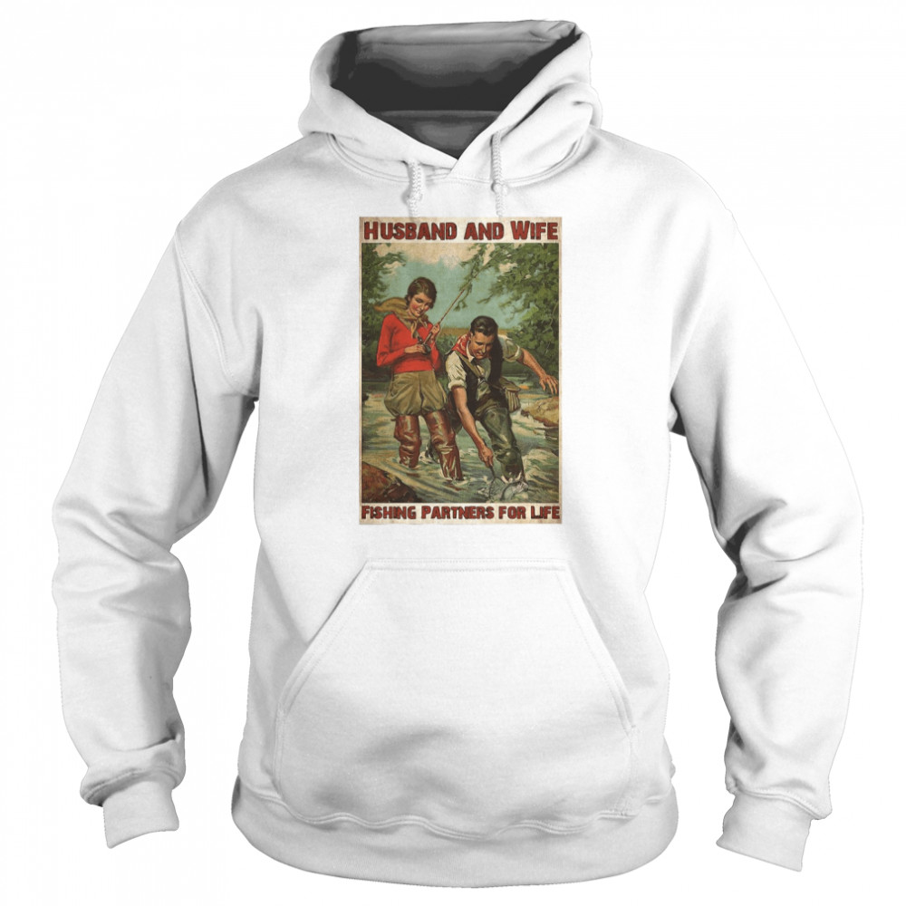 Husband And Wife Fishing Partners For Life  Unisex Hoodie